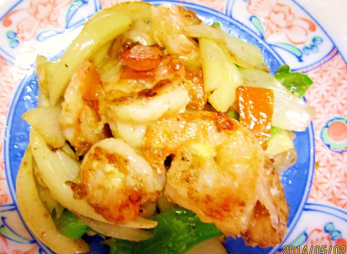 5分で簡単おもてなし 海老と野菜の炒め物