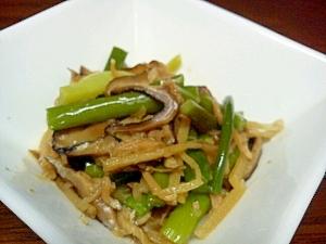ニンニクの芽と椎茸のジャコ炒め煮
