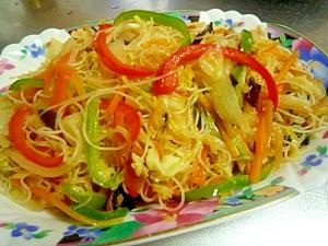 彩り野菜の焼きビーフン【市販の素使用】