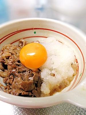 簡単主菜☆甘辛牛肉の黄身おろし和え