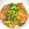 小松菜と鶏肉のニンニク醤油炒め
