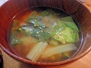 ハクサイと小松菜の味噌汁