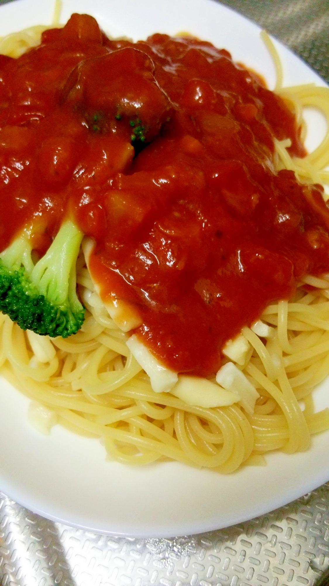 茄子トマトとナポリタンパスタ