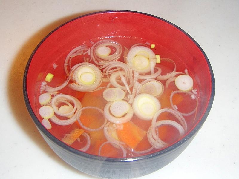 ヤーコンとにんじんのコンソメスープ