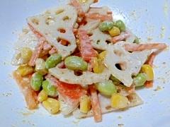 冷凍枝豆&コーンと根菜のゴマドレサラダ