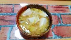 ★豆腐と玉葱と白菜の香ばしコク味噌汁★