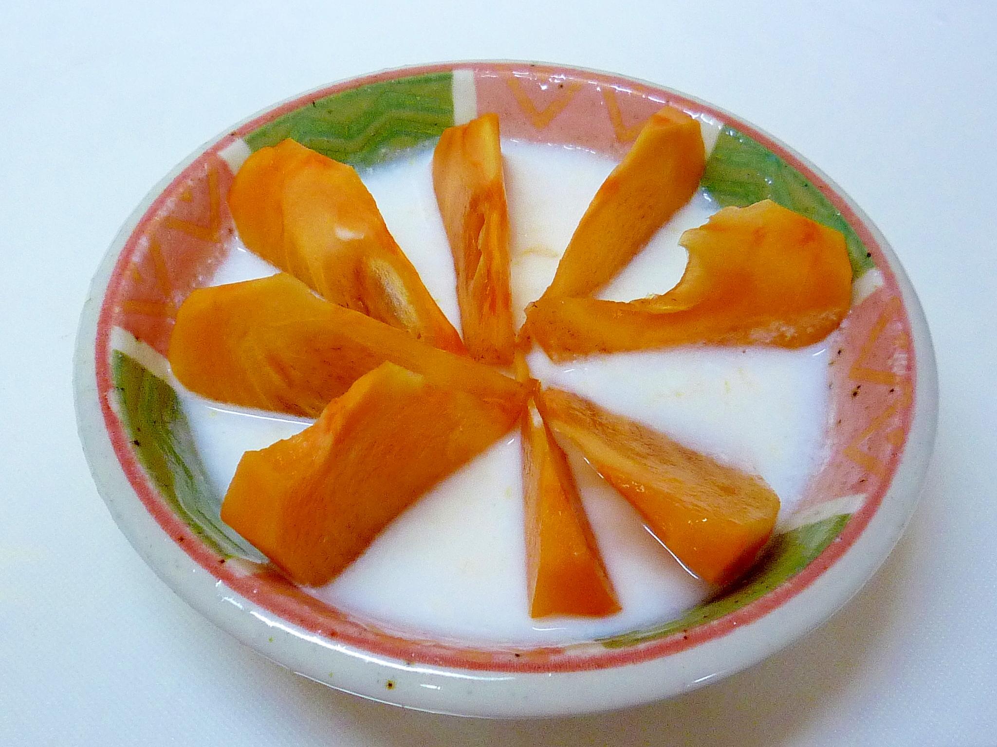 塩糀入り♪ 柿と柿ジャムのホットヨーグルト