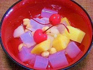 作り置きヘルシーお菓子☆ひよこ豆でみつ豆