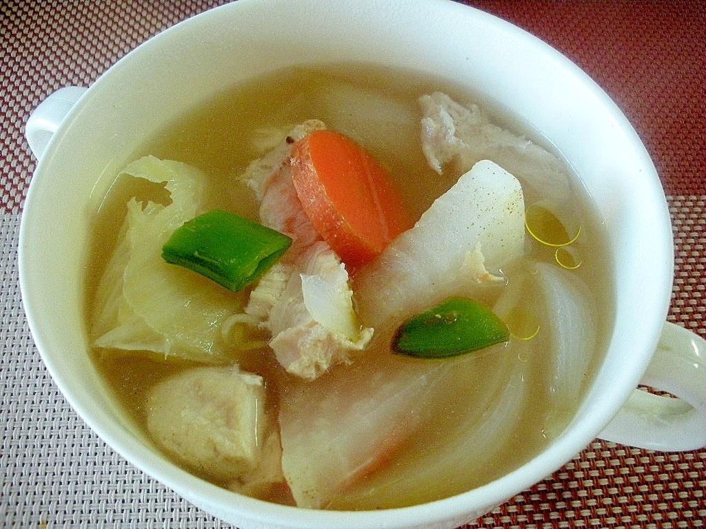 お夜食に!根菜と鶏ムネ肉のあったかスープ♪