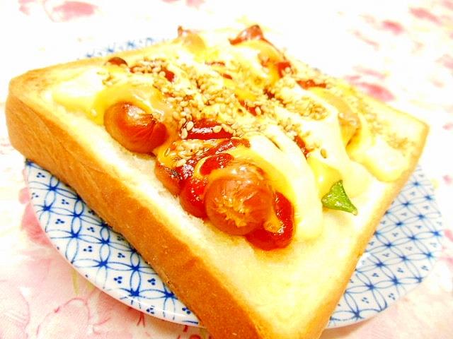 WINナーと絹さやのチェダー・チーズ・トースト