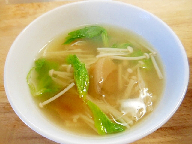 ザーサイ、えのき、せろりの葉スープ(中華味) レシピ・作り方 by アルプスの乙女|楽天レシピ