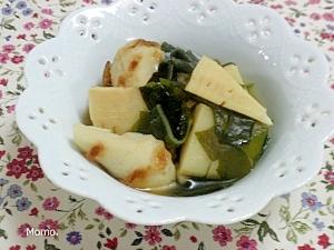 竹の子と焼き竹輪の昆布つゆ煮