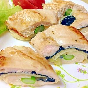 アスパラ筍チーズ海苔の塩麹の鶏ムネ肉ソテー