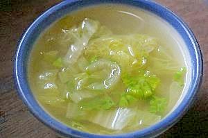 ふきのとう入りの白菜スープ