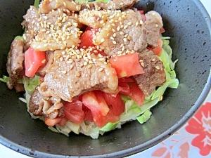 簡単昼ごはん☆焼肉のお肉が余ったら、サラダ焼肉丼