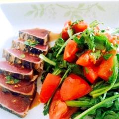 酢生姜で、春菊とトマトのうまうまサラダ!