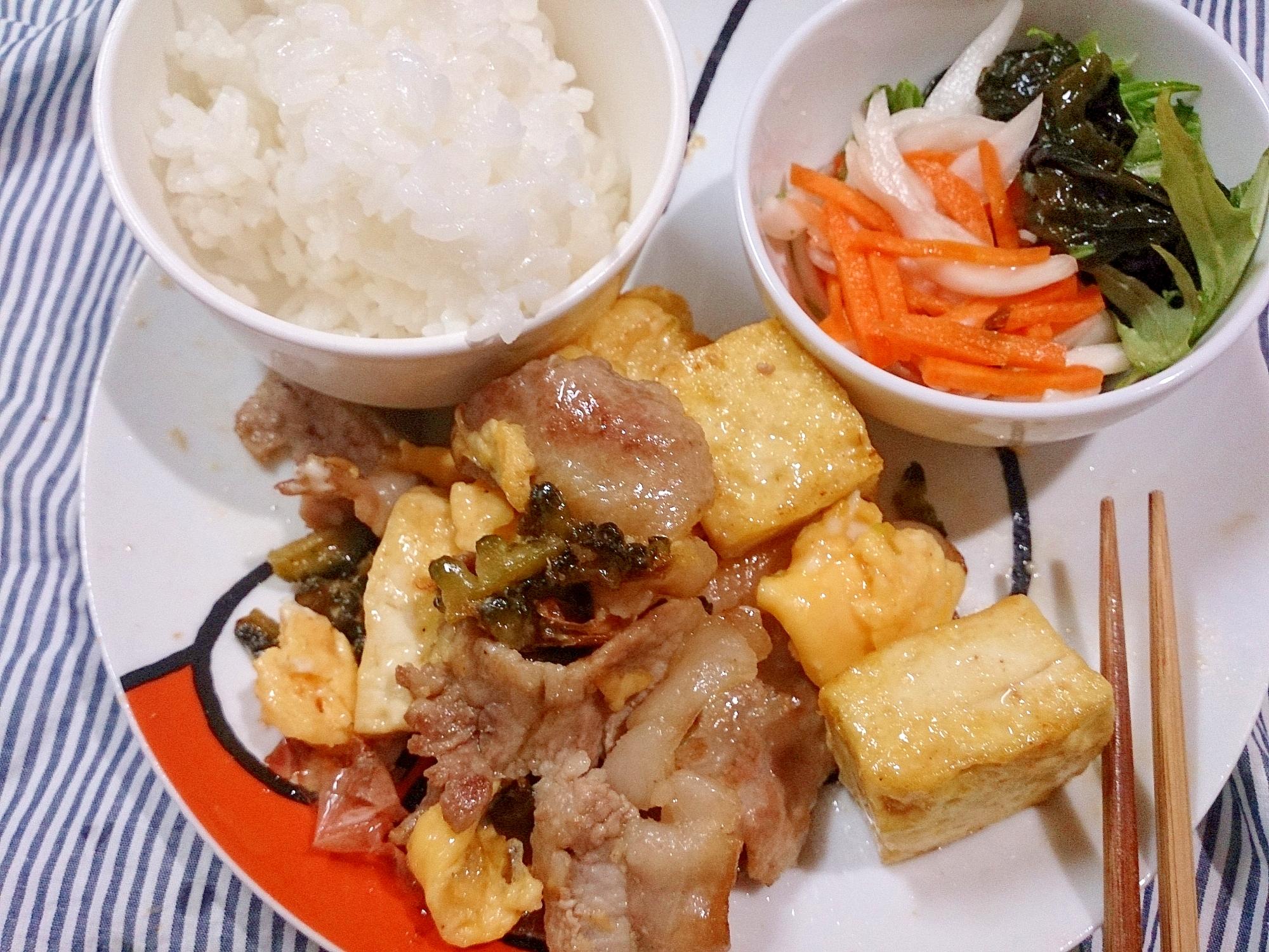 ワンプレート 島豆腐のゴーヤチャンプルと酢の物