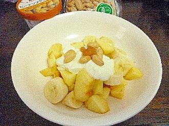 ダイエット朝食バナナ林檎ダブルピーナツヨーグルト