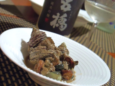 うちバル、ワインもすすむ、サザエの旨煮肝のソース