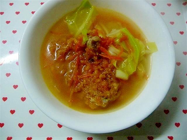 フライドチキン(惣菜)を使ったあっさりスープ