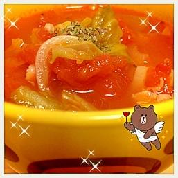 トマト缶から作る、あったかミネストローネ♪