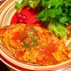 トマトのバジル風味ジューシーオムレツ