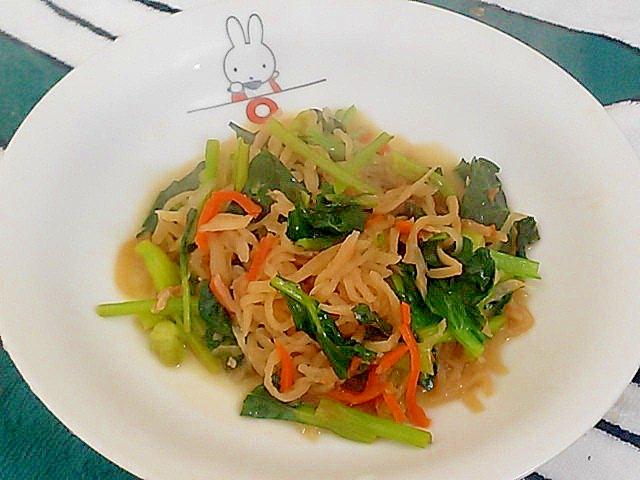 切り干し大根の煮物の残りで簡単!小松菜のさっと煮