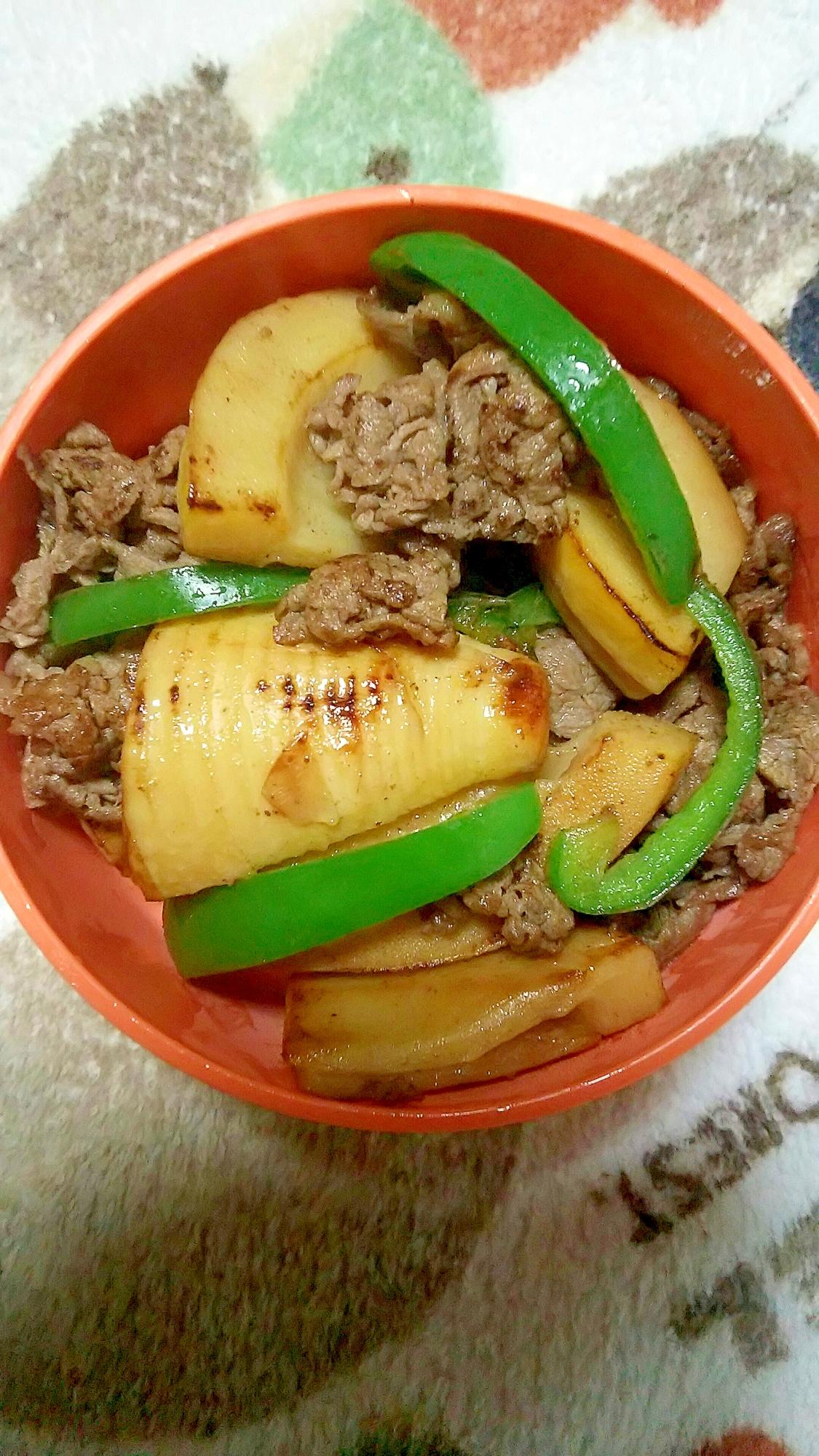 竹の子牛肉バター炒め 竹の子煮 リメイク お弁当