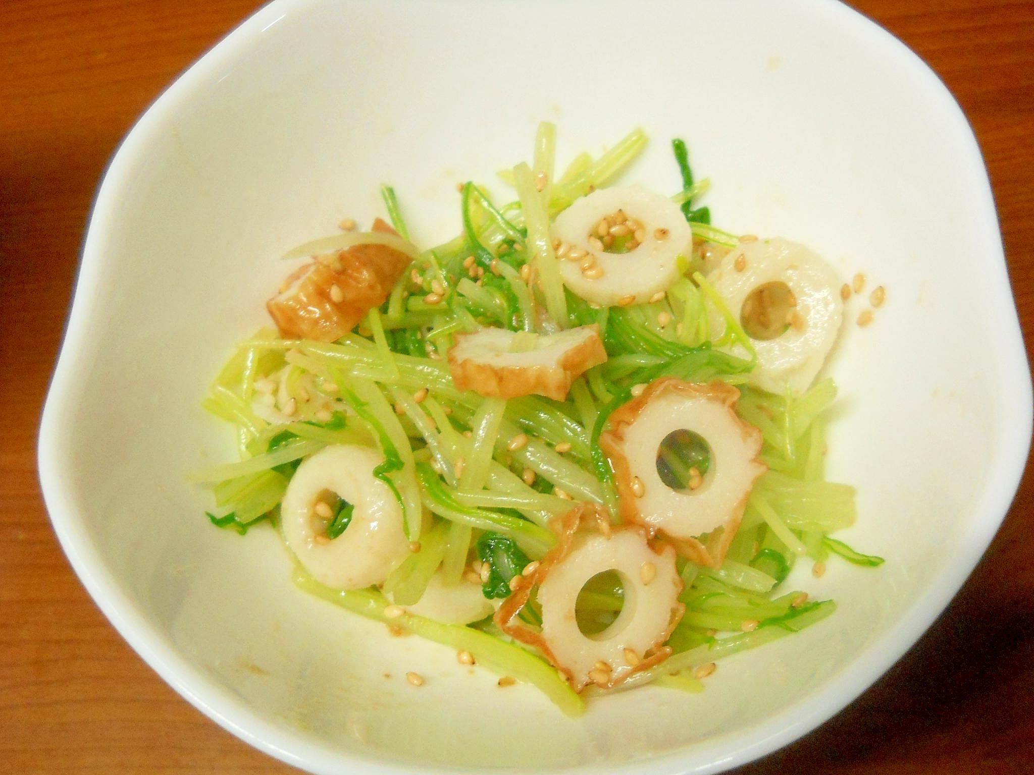 簡単小鉢*水菜とちくわのドレッシング和え