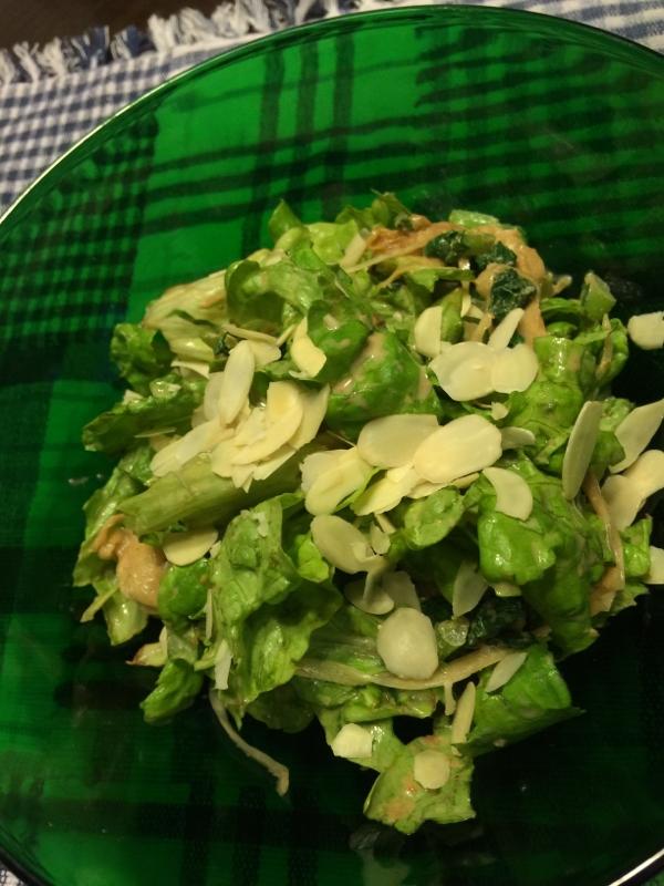 リーフレタス*大根の葉*新玉ねぎの和え物風サラダ