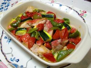 レンジで金目と野菜のアクアパッツァ