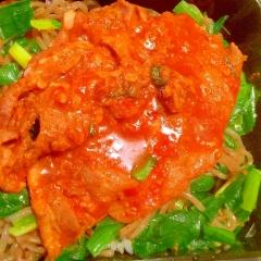 ニラ蒟蒻ナムルのた~んと韓国風コチュジャン豚丼