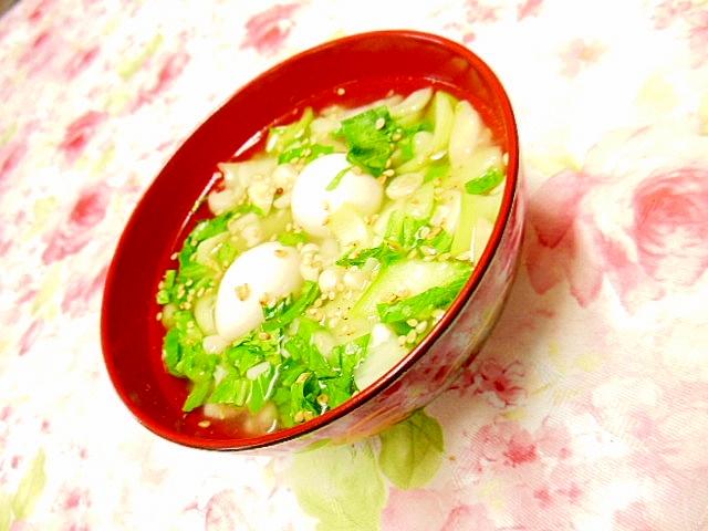 塩麹きのこde青梗菜とうずらの卵の生姜スープ