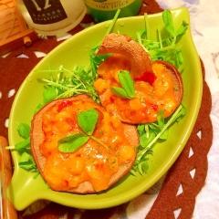 ふかふか生椎茸のサンバルマヨコーン焼き