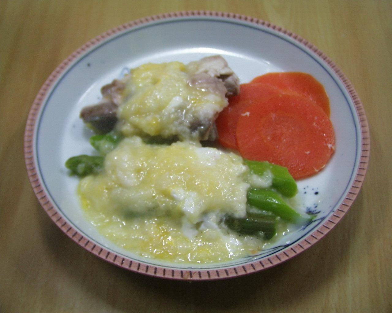 アスパラガス、ぶりの長芋とろろの添え物