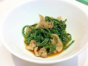 青コゴミと豚肉の生姜炒め