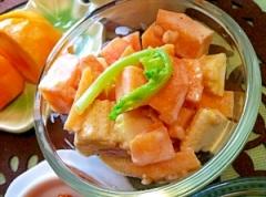 柿とヤングコーンのあっさりレモンマヨサラダ