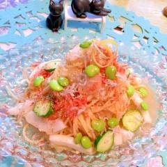 後味スッキリ!真桑瓜と海老としらすの冷製パスタ