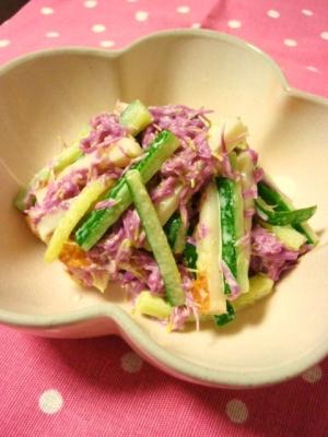 もってのほか・ちくわ・キュウリのわさびマヨ和え レシピ・作り方 by かもめのタマゴ|楽天レシピ