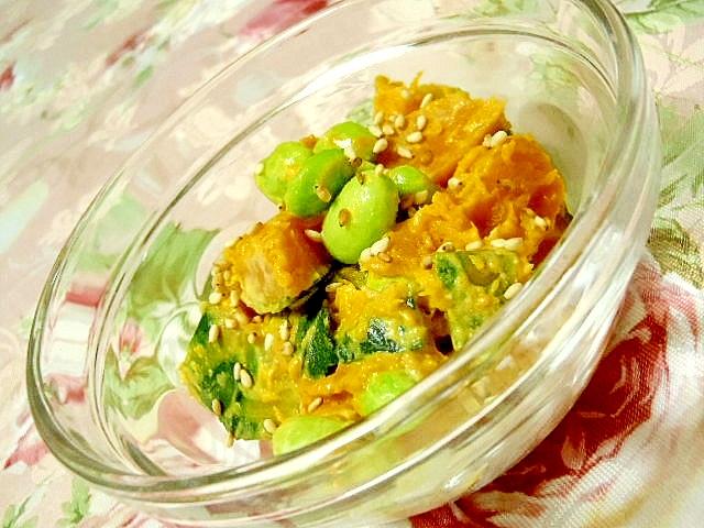 山椒好きに捧ぐ南瓜と枝豆と胡麻ドレ山椒サラダ