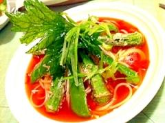 緑野菜とトマトの和風パスタ