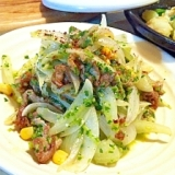 新玉ねぎと豚肉の菜の花ドレッシングサラダ