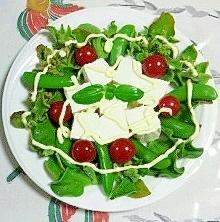 アイスプラントと塩とうふのサラダ~