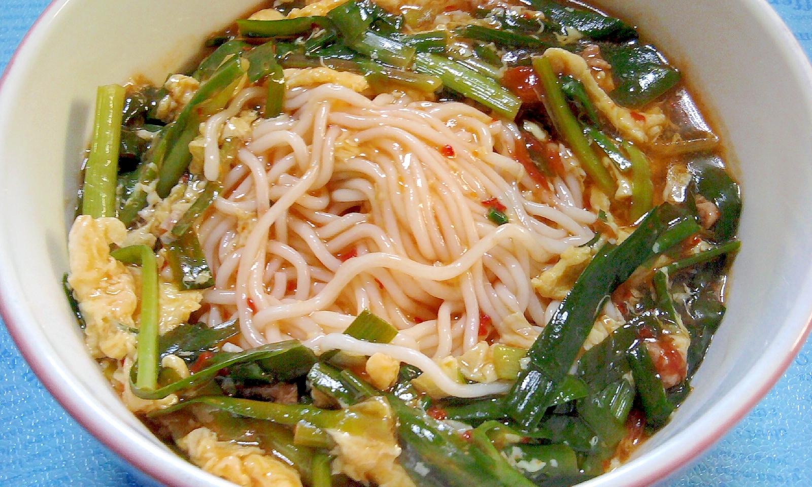 『辛麺』の冷やし餡かけ麺
