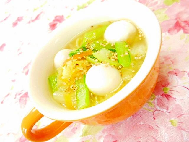 ウェイパーで白菜と人参とうずらの卵の中華スープ