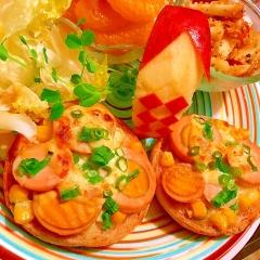 燻製たまごのネギマヨコーンマフィントースト