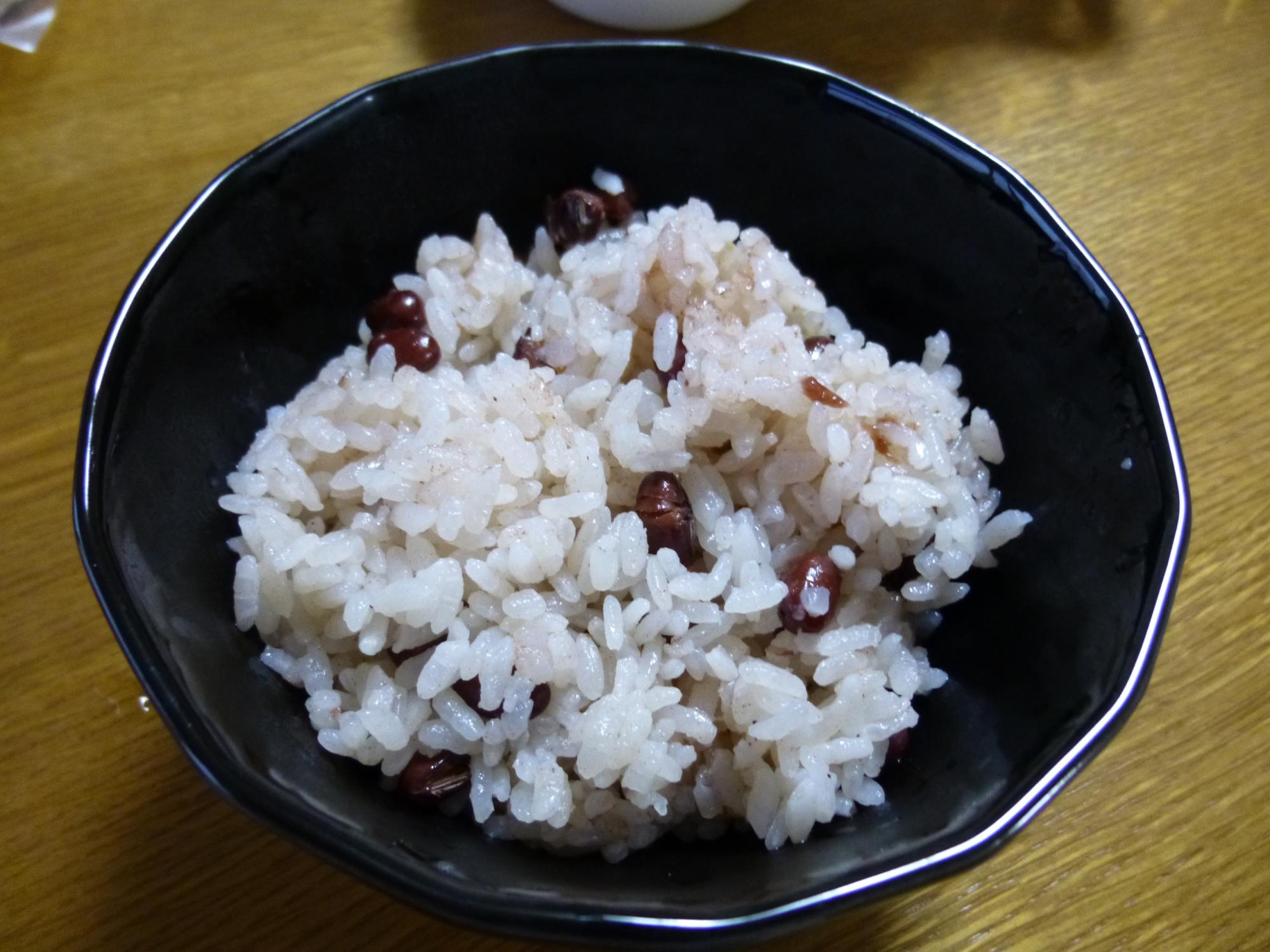 赤飯の素で赤飯(隠し味に・・・)