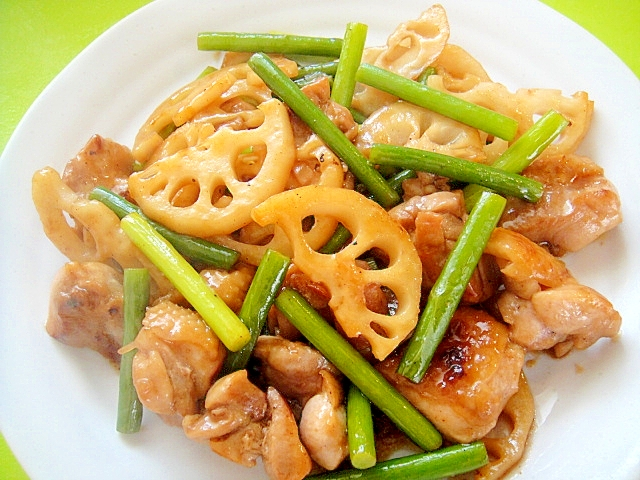 レンコンと鶏肉にんにくの芽の甘酢炒め