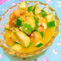新緑みたいな胡瓜とレーズンのキウイソースサラダ