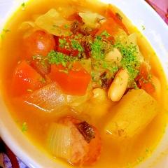 焦がし葱が決め手!のお豆とお野菜たっぷりスープ